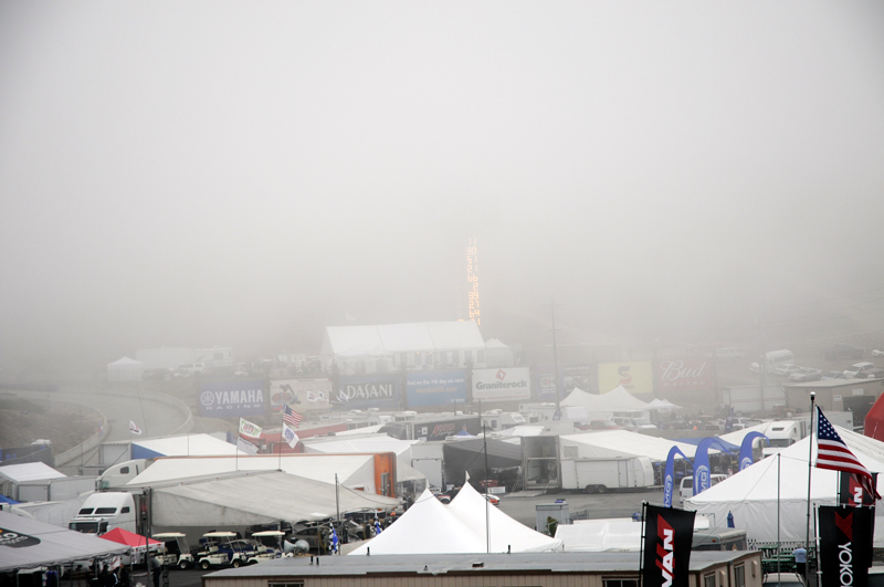 A  look at the fog at Mazda Laguna Seca raceway Saturday morning around 8 am.