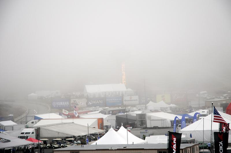 A  look at the fog at Mazda Laguna Seca raceway Saturday morning around 8 am.
